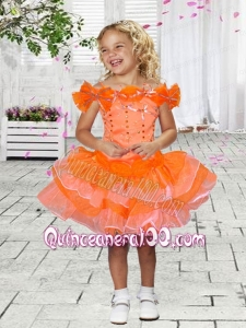 Beautiful Ball Gown Off the Shoulder Mini-length Beading Bowknot Orange Little Girl Dress