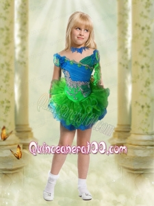 Beautiful Blue and Green Off the Shoulder Little Girl Dress with Appliques and Beading