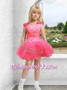 Beautiful Straps Beading Appliques Watermelon Little Girl Dress with Mini-length