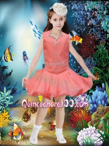 Cute A-Line Square Mini-length Beading Watermelon Little Girl Dress