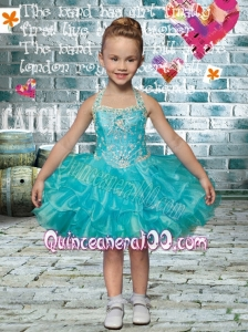 Short Beading and Ruffles Lace-up Little Girl Dress with Halter