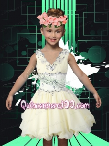 Simple V-neck A-Line Mini-length Little Girl Dress with Beading