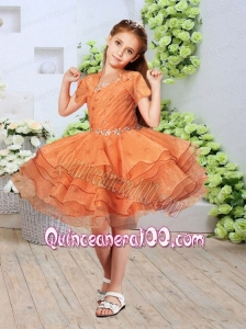 Beautiful Asymmetrical Knee-length Ruffled Layers Orange Little Girl Dress with Beading