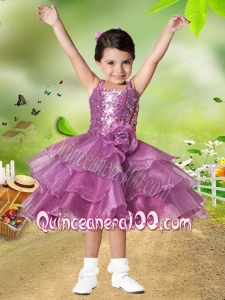 Elegant A-Line Straps Tea-length Hand Made Flowers Sequins Flower Girl Dress
