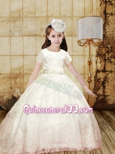 Elegant Ball Gown Bowknot Little Girl Pageant Dress with Short Sleeves for 2014
