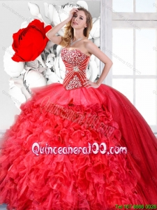 Red Sweetheart Perfect Quinceanera Gowns with Beading