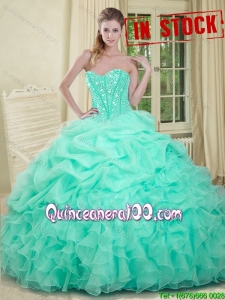 Summer Really Puffy Beaded Bodice and Ruffled Quinceanera Gown in Apple Green