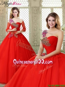 2016 Hot Sale Appliques and Beading Sweet 16 Dresses with One Shoulder