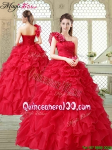 Spring Beautiful One Shoulder Ruffles Quinceanera Gowns in Red