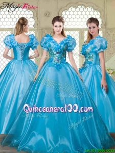 Summer Gorgeous Appliques and Beading Sweet 16 Dresses with V Neck