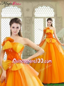 Winter Cheap Appliques and Bowknot Quinceanera Gowns with One Shoulder