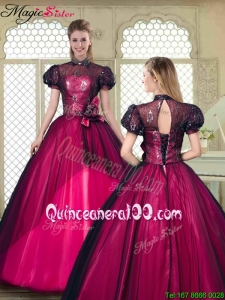 Fall Beautiful High Neck Quinceanera Dresses with Short Sleeves