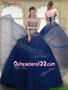 2016 Gorgeous Ball Gown Strapless Quinceanera Gowns in Navy Blue