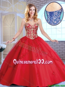 Exclusive Red Sweetheart Sweet 16 Dresses with Beading and Appliques