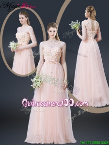 2016 Lovely Empire Bateau Dama Dresses with Appliques and Bowknot