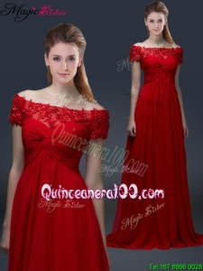 2016 Simple Off the Shoulder Short Sleeves Red Dama Dresses with Appliques