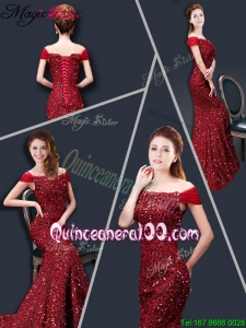Winter Mermaid Off the Shoulder Sequins Dama Dresses in Wine Red