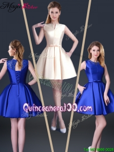 2016 Beautiful Short Bateau Dama Dresses with Bowknot and Beading