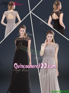 Elegant Empire Cap Sleeves Beading and Ruching Dama Dresses