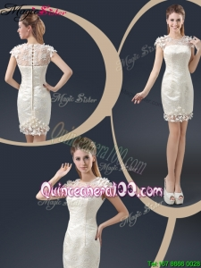 Elegant Mini Length Cap Sleeves Dama Dresses with Appliques
