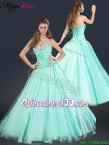 2016 Perfect Sweetheart Beading Dama Dresses in Apple Green