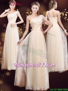 Elegant One Shoulder Mother Dresses with Appliques and Beading
