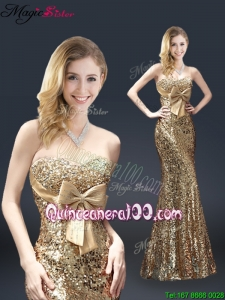 Fall Column Sequins Mother Dresses with Bowknot in Gold