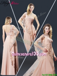 Luxurious One Shoulder Appliques Mother Dresses in Peach