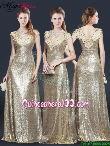 Perfect V Neck Sequins Mother Dresses in Champagne
