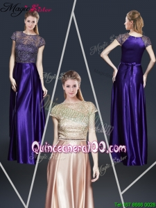 2016 Empire Bateau Mother Dresses with Appliques and Belt