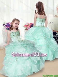 Elegant Beading and Appliques Little Girl Pageant Dresses in Apple Green