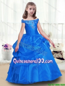 Elegant Off the Shoulder Mini Pageant Dresses with Beading