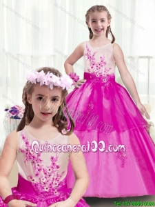 Latest Scoop Appliques Mini Pageant Dresses in Multi Color
