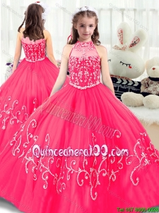 Lovely High Neck Pageant Dresses in Hot Pink