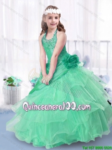 Luxurious Ball Gown Halter Top Little Girl Pageant Dresses