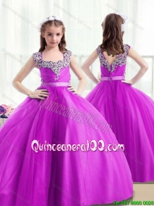 Popular Beading Mini Pageant Dresses in Fuchsia for 2016
