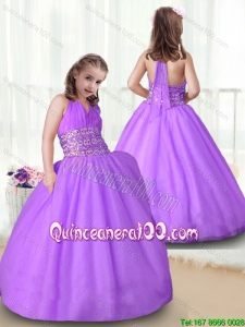 2016 Fashionable Halter Top Flower Girl Dress with Beading