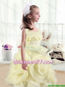 2016 Lovely A Line Scoop Flower Girl Dresses with Rolling Flowers