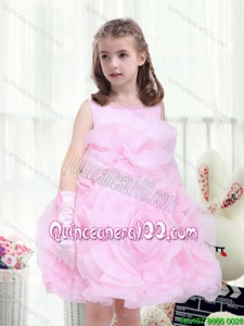 2016 Perfect A Line Scoop Beading Flower Girl Dresses with Rolling Flowers
