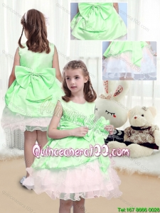 Beautiful A Line Scoop Mini Length Bowknot Flower Girl Dresses in Multi Color