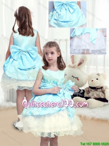 Elegant A Line Scoop Sashes Flower Girl Dresses with Bowknot