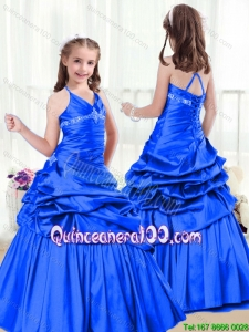 Perfect A Line Halter Top Flower Girl Dress with Beading