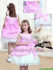 Perfect A Line Scoop Mini Length Bowknot Flower Girl Dresses for 2016