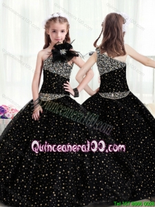 Popular One Shoulder Mini Flower Girl Dress with Pattern and Beading