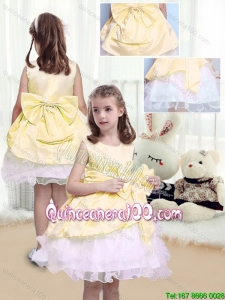 2016 Fall Perfect A Line Scoop Sashes and Bowknot Little Girl Dress