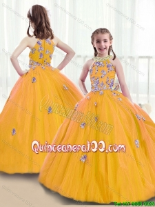2016 Wonderful High Neck Little Girl Pageant Dresses with Beading and Appliques