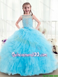 Beautiful Ruffles and Beading Little Girl Pageant Dresses with Bateau