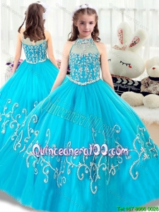Cheap Beading Little Girl Pageant Dresses with High Neck