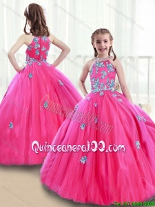 Classical High Neck Beading Little Girl Pageant Dresses with Appliques