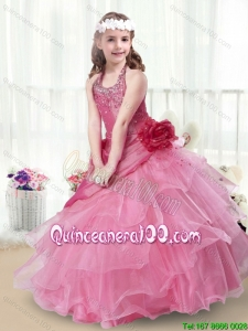 Elegant Halter Top Little Girl Dress with Beading and Ruffles